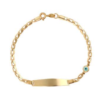 Βραχιόλι-Αλυσίδα Χρυσό Με Ματάκι 14Κ