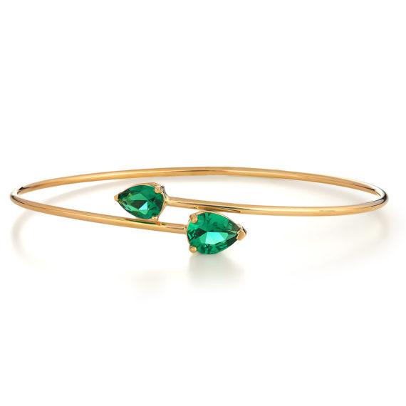 Βραχιόλι Με Διπλό Συνθετικό Σμαράγδι 14Κ 003336 Jewelor