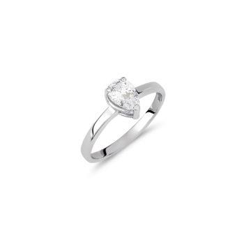 Δαχτυλίδι Μονόπετρο Λευκόχρυσο Με Ζιργκόν 14Κ