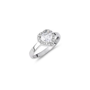 Δαχτυλίδι Μονόπετρο-Καρδιά Λευκόχρυσο Με Ζιργκόν 14Κ
