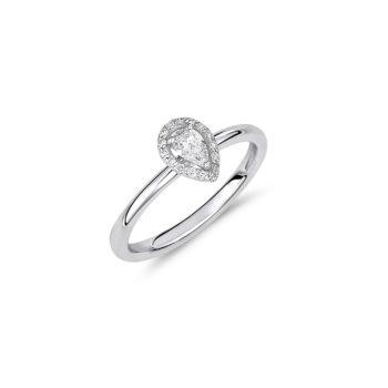 Δαχτυλίδι Μονόπετρο-Ροζέτα Λευκόχρυσο Με Διαμάντι Μπριγιάν Pear Cut 18Κ