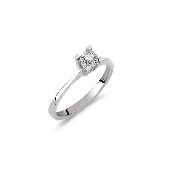 Δαχτυλίδι Μονόπετρο Λευκόχρυσο Με ΜπριγιάνΧαρακτηριστικά διαμαντιού: 0,05 καράτια, σχεδόν άχρωμο (κατηγορία F), καθαρότητας VS2
