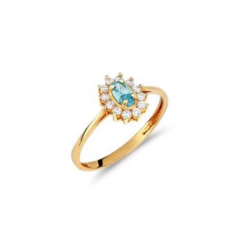Δαχτυλίδι Μονόπετρο Ροζέτα Χρυσό Με Ζιργκόν Και Aquamarine 14Κ