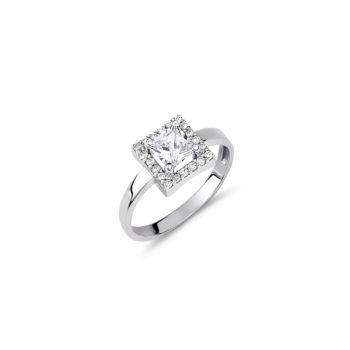 Δαχτυλίδι Μονόπετρο-Τετράγωνο Λευκόχρυσο Με Ζιργκόν 14Κ