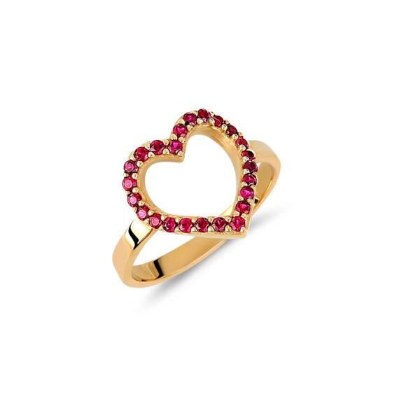 Δαχτυλίδι Καρδιά Χρυσό Με Συνθετικά Ρουμπίνια 14Κ 003446 Jewelor