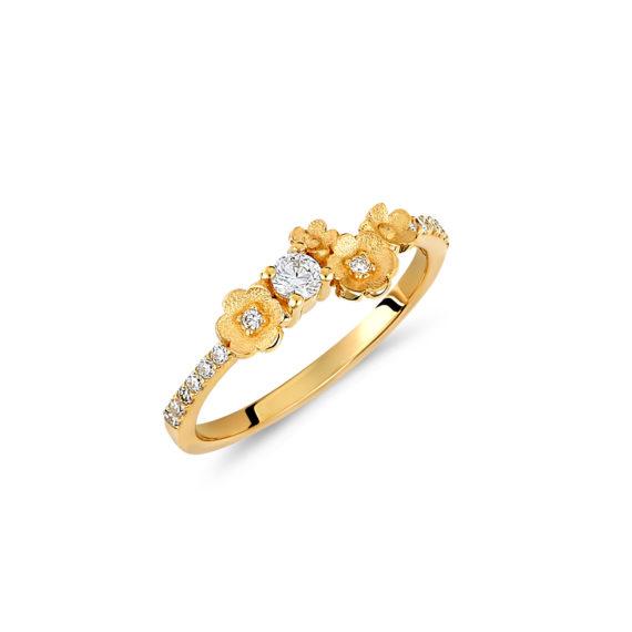 Δαχτυλίδι Λουλούδια Μισόβερο Χρυσό Με Ζιργκόν 14Κ 003444 Jewelor