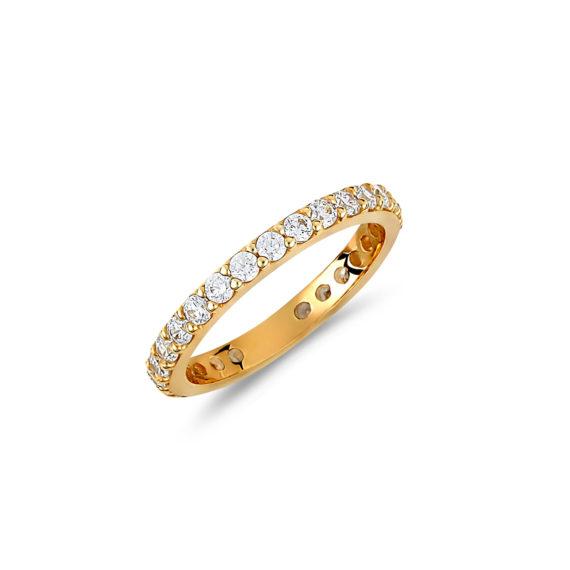 Δαχτυλίδι Ολόβερο Χρυσό Με Ζιργκόν 14Κ 003436 Jewelor