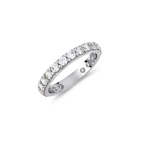 Δαχτυλίδι Ολόβερο Λευκόχρυσο Με Ζιργκόν 14Κ 003430 Jewelor