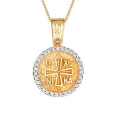 Φυλαχτό Ιησούς Χριστός Ανάγλυφο Χρυσό Με Ζιργκόν Διπλής Όψης 14Κ