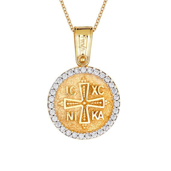 Φυλαχτό Ιησούς Χριστός Ανάγλυφο Χρυσό Με Ζιργκόν Διπλής Όψης 14Κ 003400 Jewelor