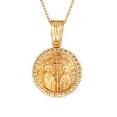Φυλαχτό Ιησούς Χριστός Ανάγλυφο Χρυσό Με Ζιργκόν Διπλής Όψης 14Κ 003400[2] Jewelor