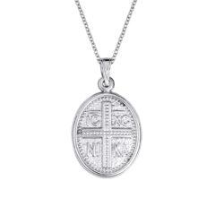 Φυλαχτό Ιησούς Χριστός Ανάγλυφο Ματ Λευκόχρυσο Διπλής Όψης 14Κ 003448[2] Jewelor
