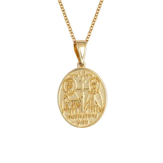Φυλαχτό Ιησούς Χριστός Χρυσό Ανάγλυφο Με Σμάλτο Διπλής Όψης 14Κ 003441[2] Jewelor