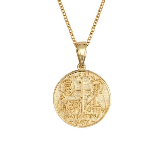 Φυλαχτό Ιησούς Χριστός Χρυσό Ανάγλυφο Με Σμάλτο Διπλής Όψης 14Κ 003442[2] Jewelor