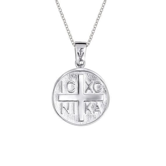 Φυλαχτό Ιησούς Χριστός Σφυρήλατο Λευκόχρυσο 14Κ 003401 Jewelor