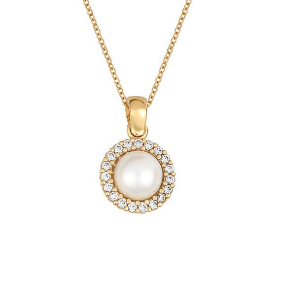 Κρεμαστό Χρυσό Με Μαργαριτάρι Και Ζιρκόν Χρυσό 14Κ 003423 Jewelor