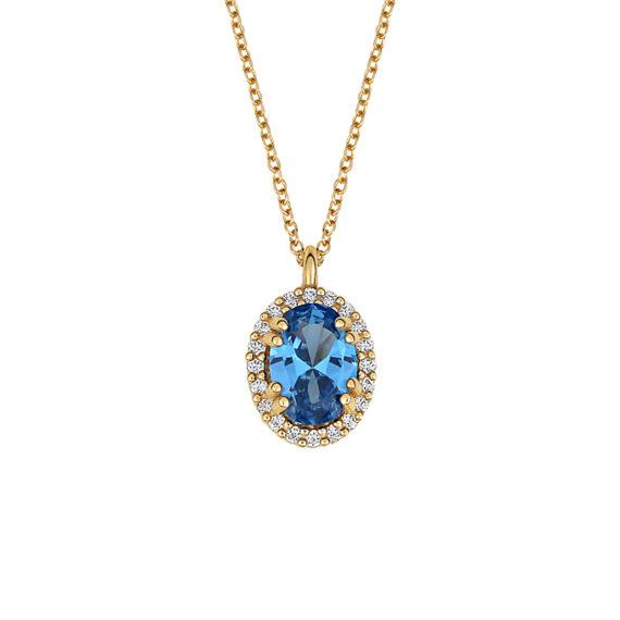 Κρεμαστό Χρυσό Με Μπλε Τοπάζι Και Ζιργκόν 14Κ 003434 Jewelor