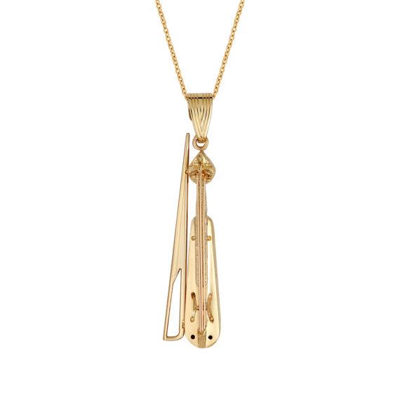 Κρεμαστό Λύρα Χρυσό Ανάγλυφο Με Ζιργκον 14Κ 003438 Jewelor
