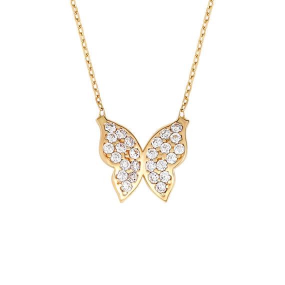 Κρεμαστό Πεταλούδα Χρυσό Με Ζιργκόν 14Κ 003419 Jewelor