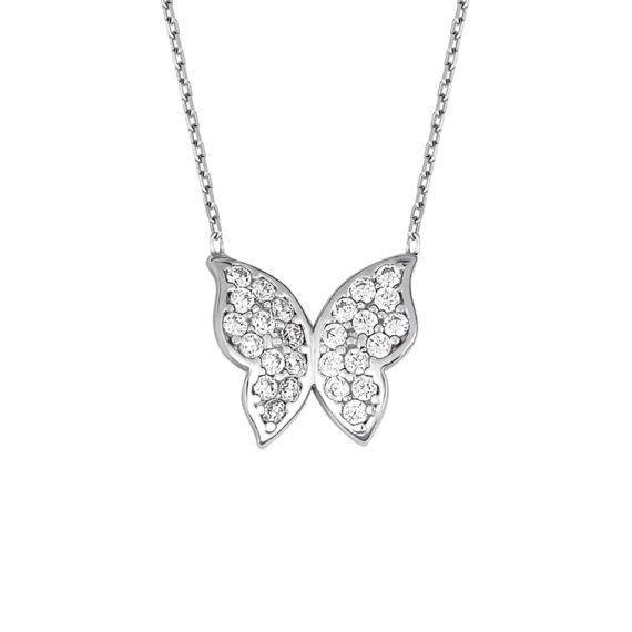 Κρεμαστό Πεταλούδα Λευκόχρυσο Με Ζιργκόν 14Κ 003420 Jewelor