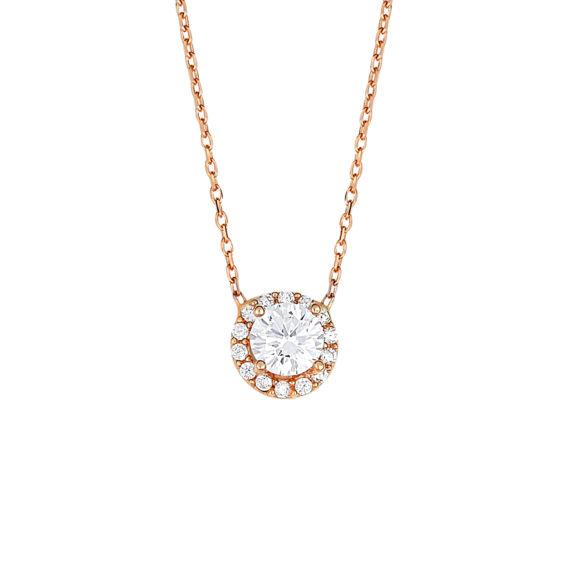 Κρεμαστό Ροζ Χρυσό Με Ζιργκόν 14Κ 003403 Jewelor