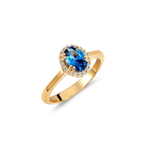 Μονόπετρο Δαχτυλίδι Χρυσό Με Μπλε Τοπάζι Και Ζιργκόν 14Κ 003429 Jewelor