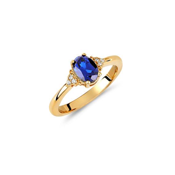 Μονόπετρο Δαχτυλίδι Χρυσό Με Συνθετικό Ζαφείρι Και Ζιργκόν 14Κ 003432 Jewelor
