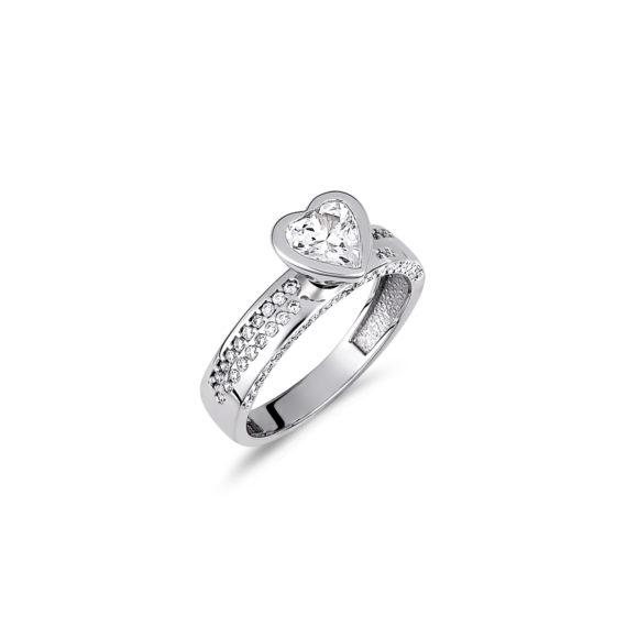 Μονόπετρο Δαχτυλίδι Καρδιά Μισόβερο Λευκόχρυσο Με Ζιργκόν 14Κ 003399 Jewelor