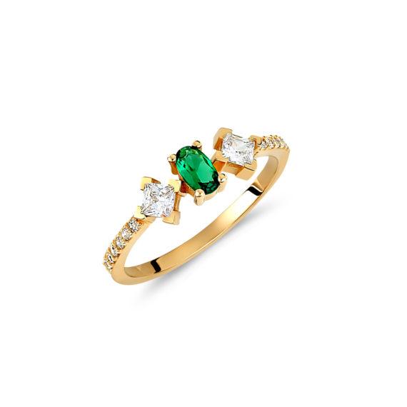 Μονόπετρο Δαχτυλίδι Μισόβερο Χρυσό Με Συνθετικό Σμαράγδι Και Ζιργκόν 14Κ 003431 Jewelor
