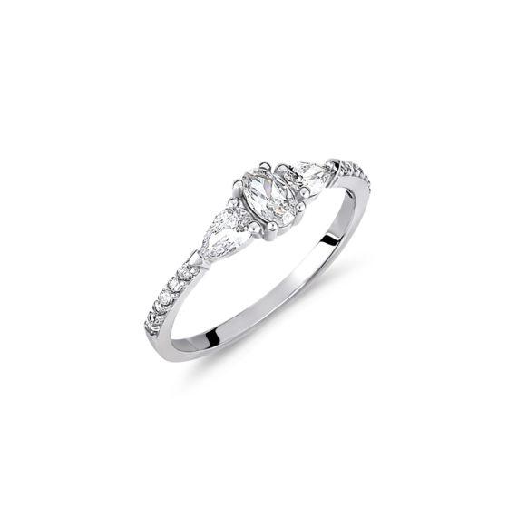 Μονόπετρο Δαχτυλίδι Μισόβερο Λευκόχρυσο Με Ζιργκόν 14Κ 003443 Jewelor