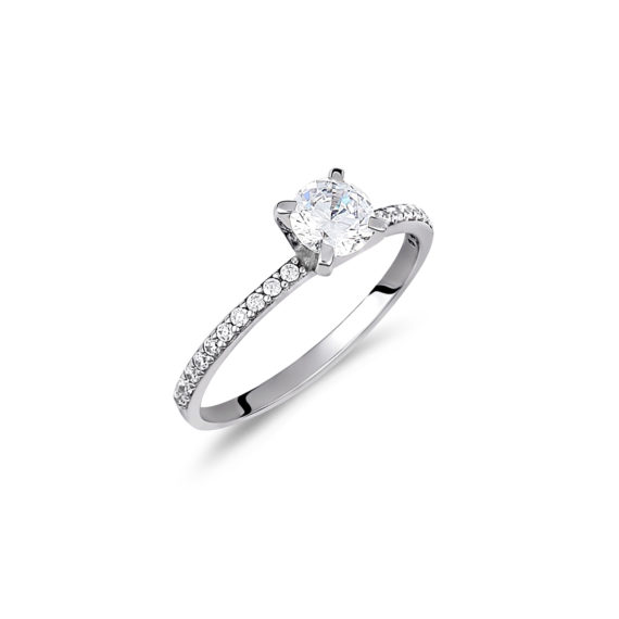 Μονόπετρο Δαχτυλίδι Ολόβερο Λευκόχρυσο Με Ζιργκόν 14Κ 003417 Jewelor