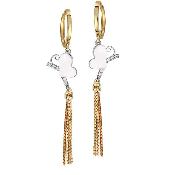 Μοντέρνα Σκουλαρίκια Δίχρωμα Διάτρητα Με Ζιργκόν 14Κ 003450 Jewelor