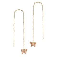 Μοντέρνα Σκουλαρίκια-Πεταλούδες Χρυσά Με Ζιργκόν 14Κ