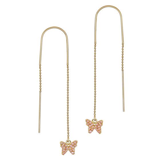 Μοντέρνα Σκουλαρίκια Πεταλούδες Χρυσά Με Ζιργκόν 14Κ 003452 Jewelor