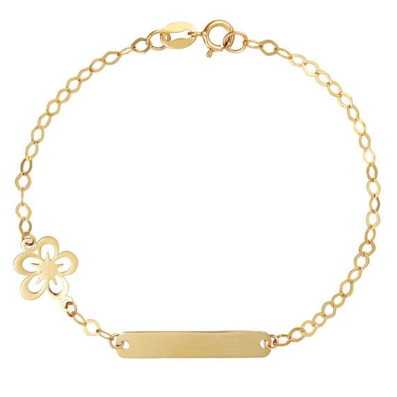 Μοντέρνο Βραχιόλι Αλυσίδα Με Διακοσμητικό Λουλούδι Χρυσό 14Κ 003424 Jewelor