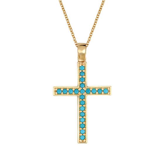 Μοντέρνος Σταυρός Χρυσός Με Τιρκουάζ 14Κ 003447 Jewelor