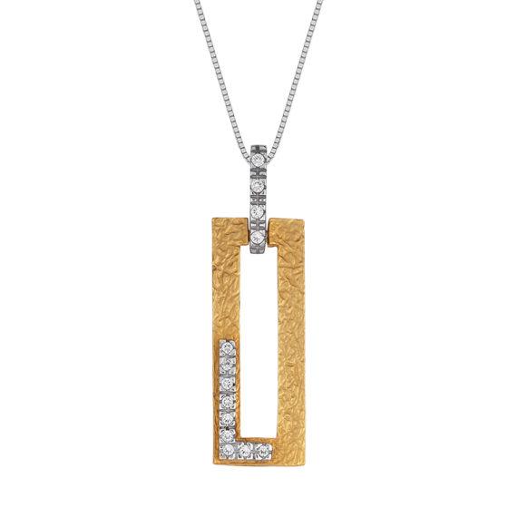 Ορθογώνιο Μοντέρνο Κρεμαστό Δίχρωμο Χρυσό Ματ Ζαγρέ Με Ζιργκόν 14Κ 003449 Jewelor