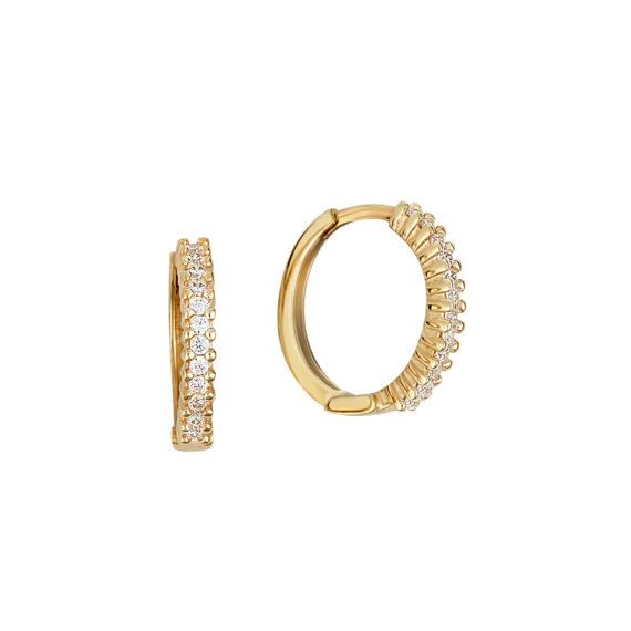 Σκουλαρίκια Κρίκοι Χρυσά Ανάγλυφα Με Ζιργκόν 14Κ 003413 Jewelor