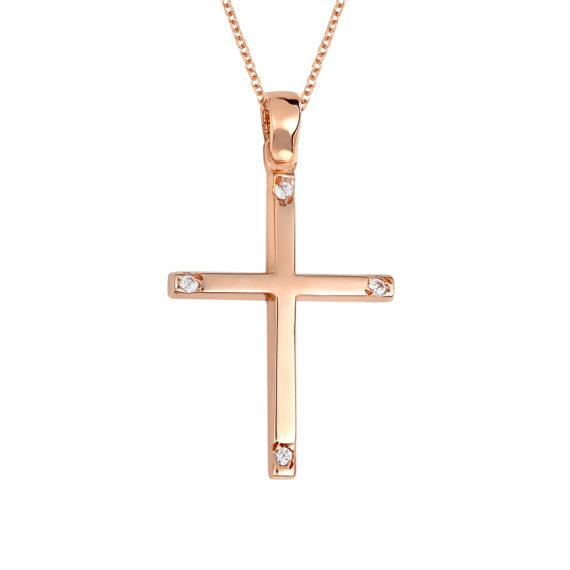 Σταυρός Λεπτός Ροζ Χρυσός Με Ζιργκόν 14Κ 003439 Jewelor