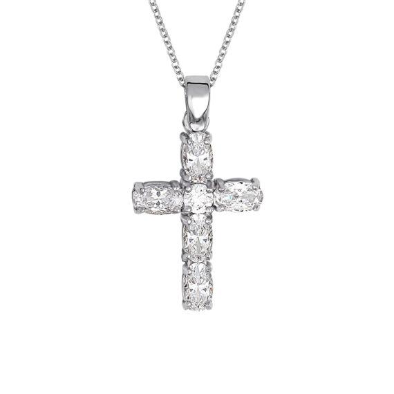 Σταυρός Λευκόχρυσος Με Ζιργκόν 14Κ 003437 Jewelor