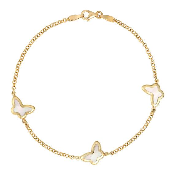 Βραχιόλι Αλυσίδα Με Πεταλούδες Από Φίλντισι Χρυσό 14Κ 003433 Jewelor